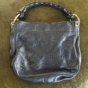 Bottega Venata black leather detailed bag